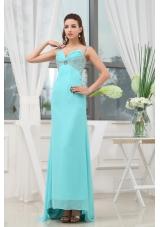 Beading Ruching Straps Long Prom Dress