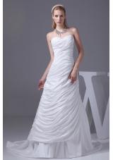 Beading Ruching Sweetheart Brush Train Wedding Dress