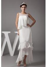 Beading Scoop High-low Wedding Dress