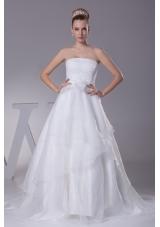 Beading Strapless Court Train A-Line Wedding Dress with Zipper-up