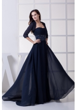 Beading Strapless Navy Blue Long Mother of the Bride Dress
