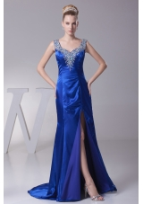 Beading V-neck High Slit Brush Train Prom Dress