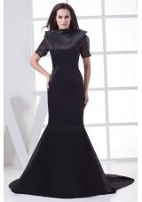 Black High-neck Short Sleeves Mermaid Chapel Train Mother of the Bride Dress