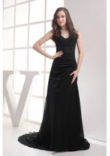 Black Sweetheart Brush Train Ruching A-line Prom Dress