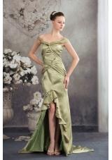 Column Off the Shoulder Green 2013 Ruching Prom Dress