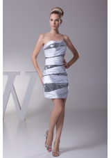 Column Strapless Ruch Sequins Prom Dress