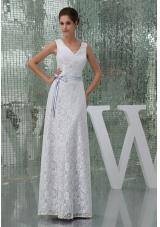 Column V-neck Sash Lace Long Wedding Dress