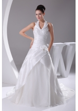 Court Train Ruching Halter A-Line Wedding Dress with Lace-up