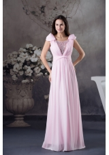 Empire Prom Dress With Long Beading Cap Sleeves Scoop Neck
