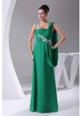 Green Appliques Ruching Empire Long Prom Dress