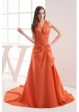 Halter Top Orange Court Train Ruching Prom Dress
