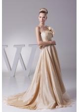 Hand Made Flowers Strapless Princess Wedding Dress With Brush Train