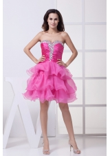 Hot Pink Beading Ruffled Layers Knee-length Prom Dress