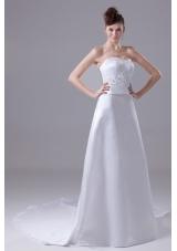 Lace and Beading Sweetheart Watteau Train  Wedding Dress