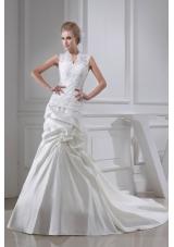 Lace Pick-ups V-neck Mermaid Chapel Train Wedding Dress