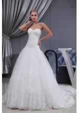 Lace Ruching Sweetheart A-line Chapel Train Wedding Dress