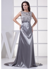 Lace Scoop Grey Column Brush Train Prom Dress