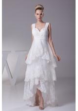 Lace Straps High-lowA-line Wedding Dress