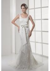 Mermaid Bowknot Square Neck Court Train Wedding Dress