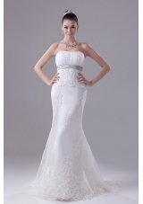 Mermaid Strapless Hottest Wedding Dress With Brush Train