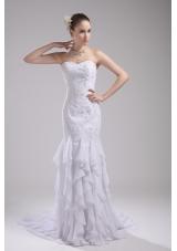 Mermaid Sweetheart Embroidery Ruffles Wedding Dress