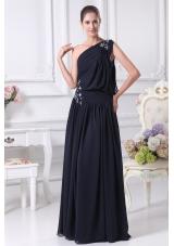 Navy Blue One Shoulder Beading Empire Prom Dress