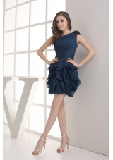 Navy Blue One Shoulder Ruching Mini-length Prom Dress