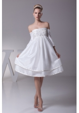 Off The Shoulder 3/4 Sleeves Knee-length Wedding Dress