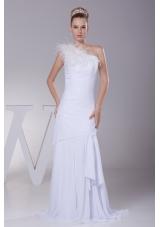 One Shoulder Chiffon Mermaid Feather Brush Train Wedding Dress