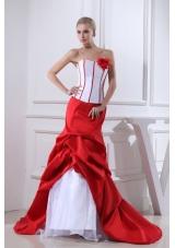 Pick-ups Mermaid Strapless Hand Made Flower Court Train Red Wedding Dress