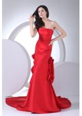Red Column Strapless Hand Made Flowers Wedding Dress