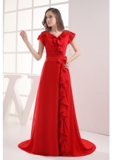 Red Short Sleeves Bow V-neck Prom Dress