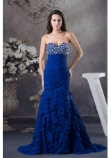 Rhinestone and Ruffled Layers Mermaid Royal  Blue Sweetheart 2013 Prom Dress