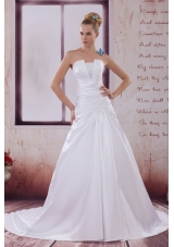 Ruching Court Train A-Line Strapless Wedding Dress