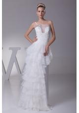 Ruffled Layers One Shoulder long Column Wedding Dress