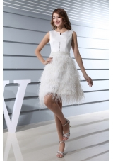 Ruffles Scoop Knee-length Beading Wedding Dress