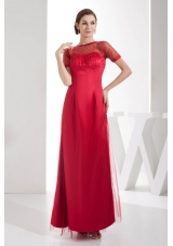Scoop Ankle-length Sequins Red Mother of the Bride Dress Short Sleeves