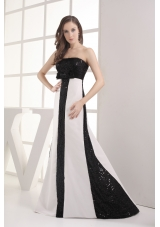 Sequin Black and White Column Strapless Prom Dress