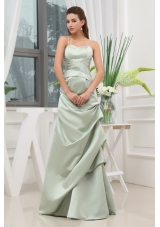 Spaghetti Straps A-line Ruching Long Prom Dress