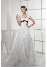 Square Neck Princess Lace Wedding Dress With Brown Sash