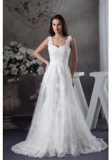 Straps Lace Brush Train A-line Wedding Dress
