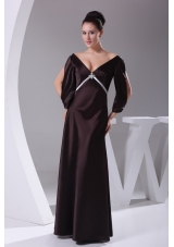 V-neck 3/4 Sleeves Beading Empire Long Mother of Bride Dresses