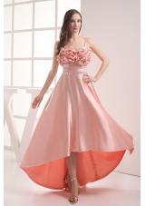 Watermelon Sapghetti Straps Beading High-low Ruching Prom Dress