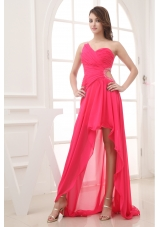 Beading Hot Pink Empire High-low One Shoulder Prom Dress