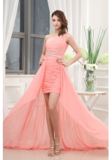 Beading Watermelon Brush Train One Shoulder Column Prom Dress