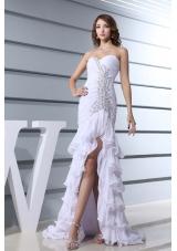 Beading White Sweetheart Mermaid  Brush Train 2013 Beautiful Prom Dress
