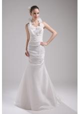 Halter Top Column Hand Made Flowers Wedding Dress