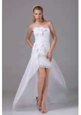 High-low Strapless Hand Made Flowers Taffeta Wedding Dress