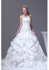Pick-ups A-line Court Train Strapless Wedding Dress