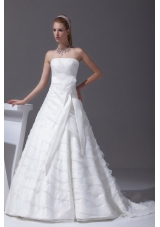 Sash Ruffled Layers A-line Brush Train Wedding Dress